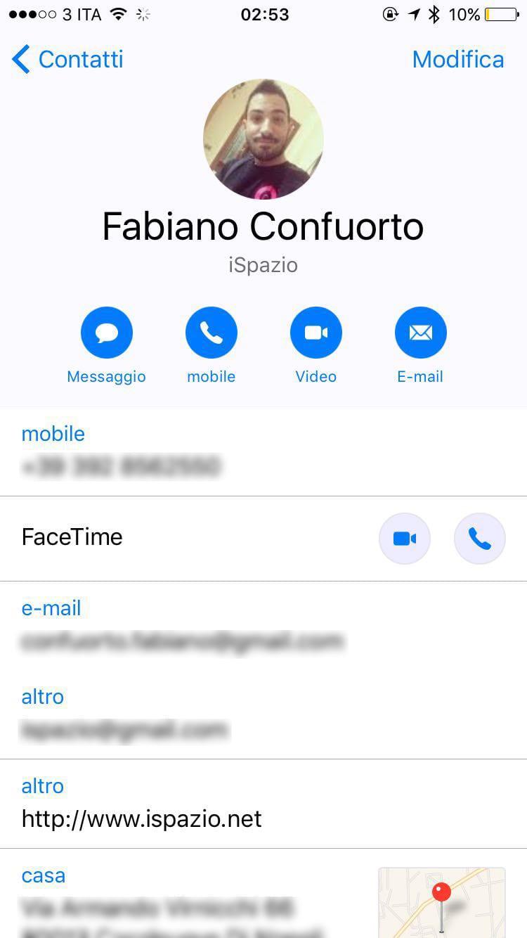 info contatti iOS 10
