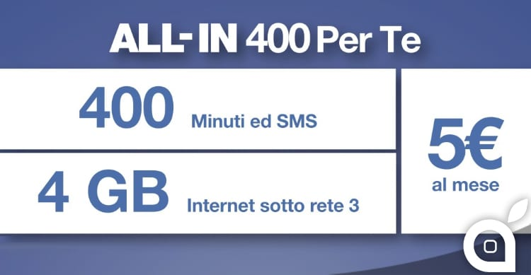 Tre risponde a Wind con la ALL-IN 400 Per Te: 400 minuti ed SMS con 4 GB a 5€ al mese