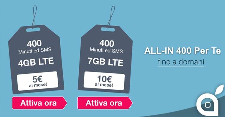 Soltanto fino a domani ALL-IN 400 Per te di 3 offre 400 minuti 400 SMS e 4GB a 5€ al mese