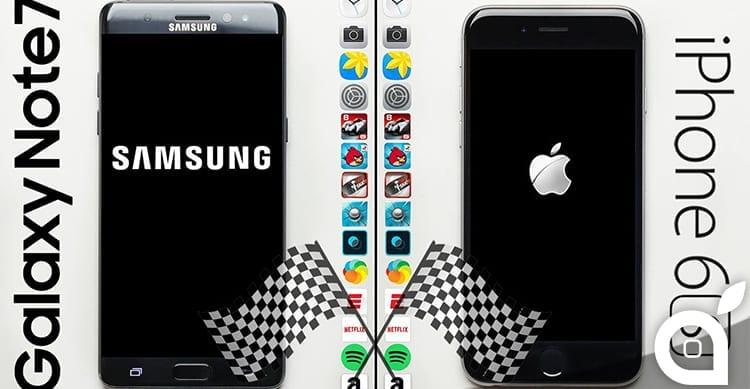 iPhone 6s e Samsung Galaxy Note 7 si sfidano in uno speed test [Video]