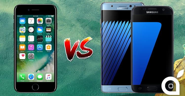 iPhone 7 Plus vs Galaxy Note 7 e S7 EDGE: ecco i migliori phablet a confronto