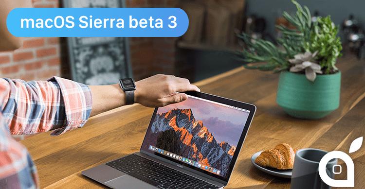 Apple rilascia macOS Sierra 10.12.1 beta 3 per gli sviluppatori