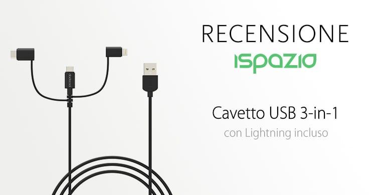 Recensione cavetto Dodocool USB 3-in-1 MFi con adattatori Lightning, microUSB e USB-C