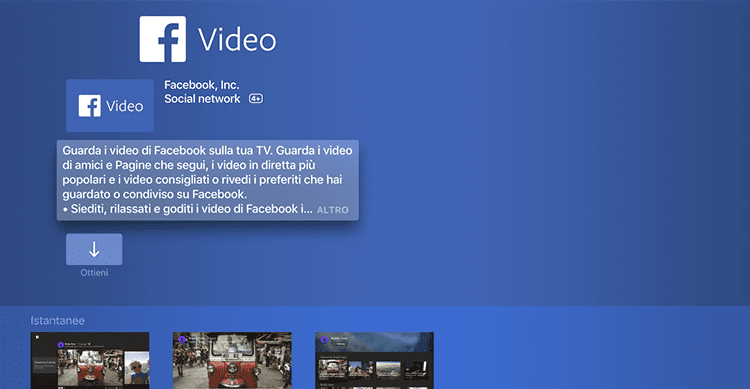 Facebook lancia l'applicazione dedicata ai video per Apple TV