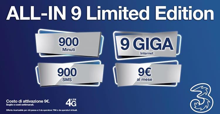 Gli utenti TIM che passano a Tre possono avere 900 minuti, 900 SMS e 9GB di internet a 9€ al mese