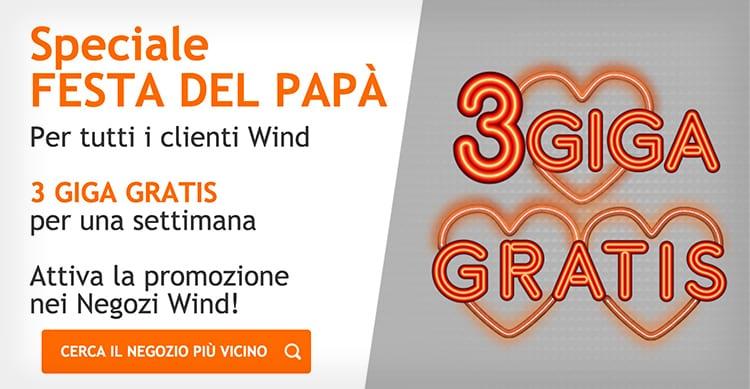 Wind regala 3GB di traffico internet a tutti i clienti da utilizzare per una settimanawind
