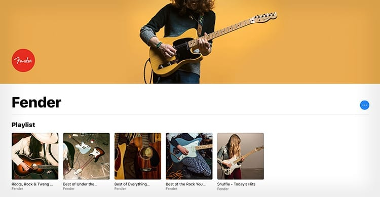 Apple Music si arricchisce di 5 nuove Playlist curate da Fender, il famoso marchio di chitarre