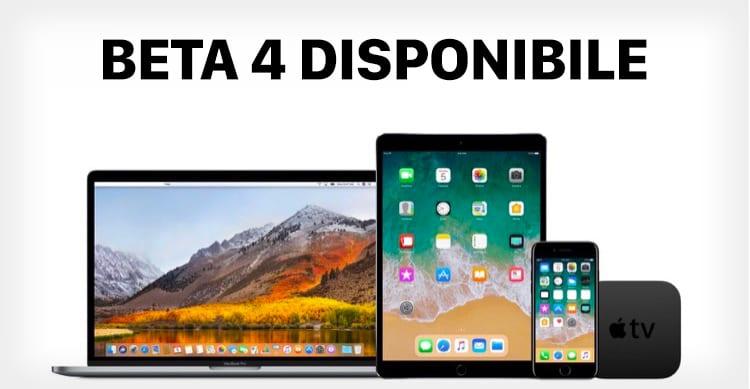 Apple rilascia la beta 4 di watchOS 4, di tvOS 11 e di MacOS High Sierra