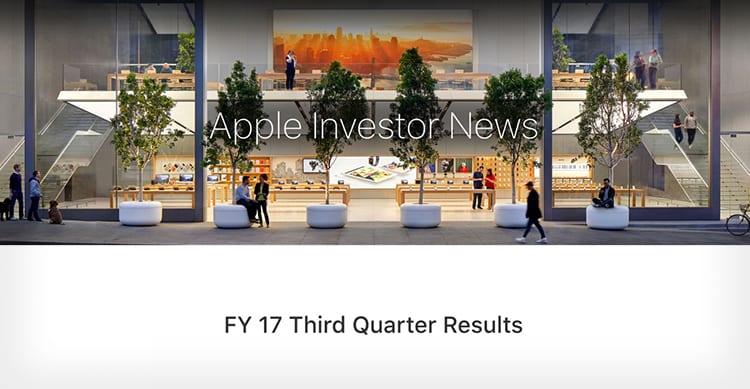 Apple rilascerà i dati finanziari del Q3 2017 il 1° Agosto