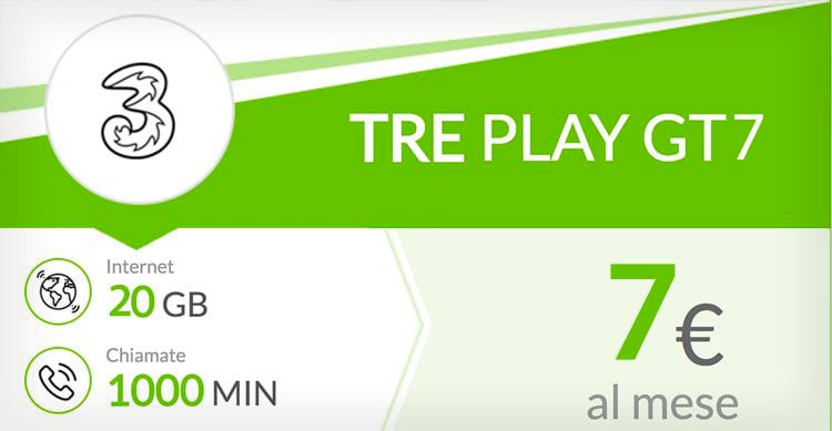 PLAY GT7, 1000 minuti e 20GB a soli 7€ oppure PLAY GT5 con 1000 minuti e 15GB a 5€. Per tutti i MNP ma solo online!