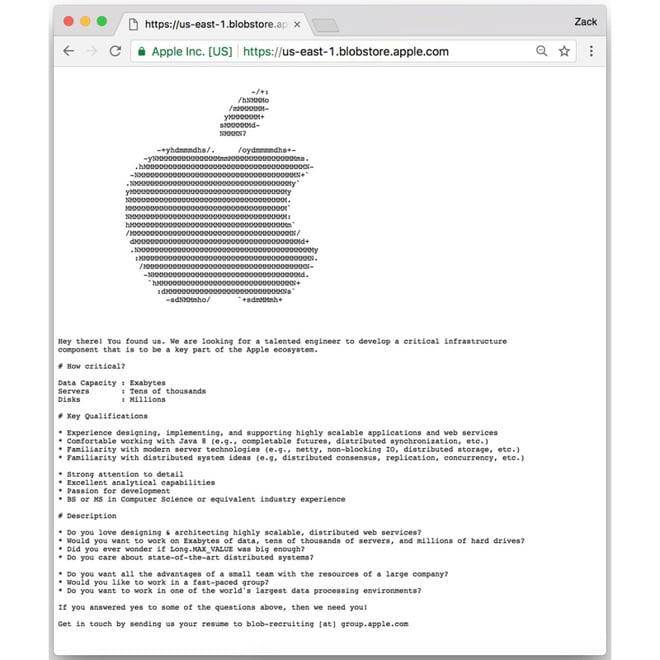 annuncio Apple web