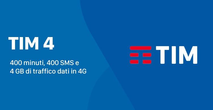 TIM 4 dedicata ai già clienti offre 400 minuti, 400 SMS e 4 GB a 9,90€