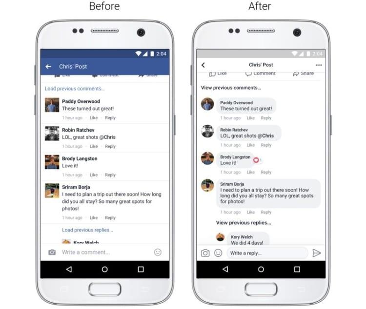 facebook novità commenti