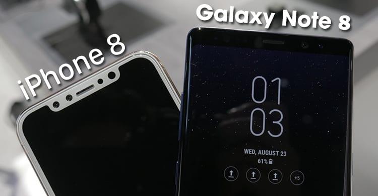 iPhone 8 (dummy) e Galaxy Note 8 protagonisti di un primo confronto [GALLERIA]