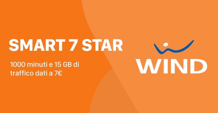 Wind Smart 7 Star attivabile fino al 20 settembre con 1000 minuti e 15 GB a 7€