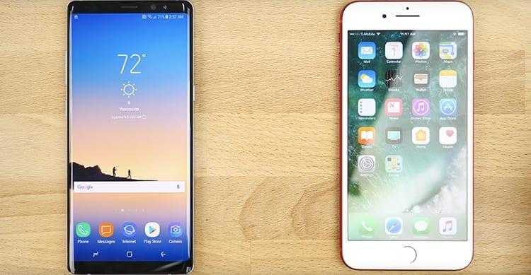 iPhone 7 Plus sfida il Galaxy Note 8 in un test sulla velocità e prestazioni [Video]