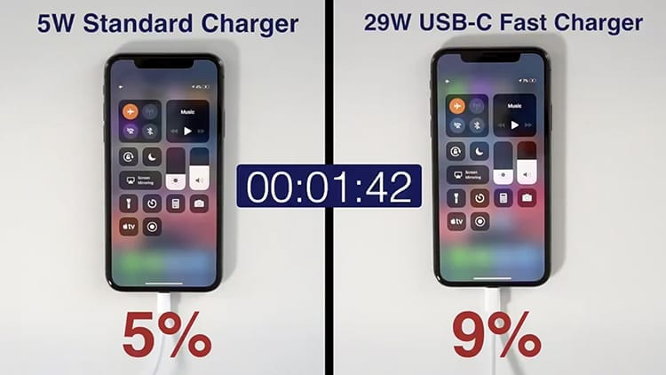 Come cambia la velocità di ricarica di iPhone X utilizzando il caricatore standard e quello da 29W [Video]