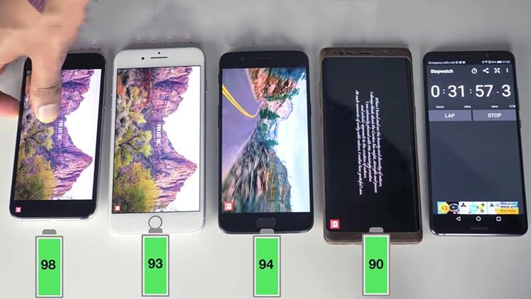 Confronto nella Durata della Batteria tra: iPhone X, iPhone 8 Plus, Samsung Galaxy Note 8 e OnePlus 5 [Video]