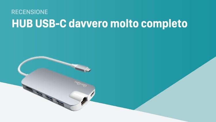 Recensione HUB USB-C ideale per i MacBook. Offre: 3 porte USB 3.0, 1 porta USB-C, SDHC, microSDHC, 1 porta Ethernet e HDMI
