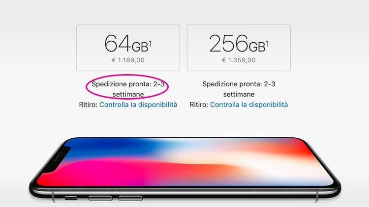I tempi di spedizione di iPhone X sono scesi a 2-3 settimane. Alcune consegne anticipate al 16 Novembre