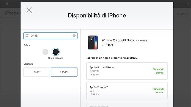 iPhone X disponibili ora con ritiro in store presso gli Apple Store di Roma. Affrettatevi!