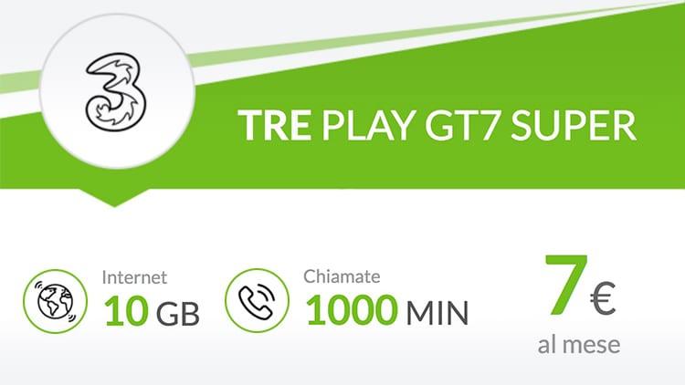 3 Italia lancia la Play GT7: solo 7€ al mese per 1000 minuti e 10GB in LTE