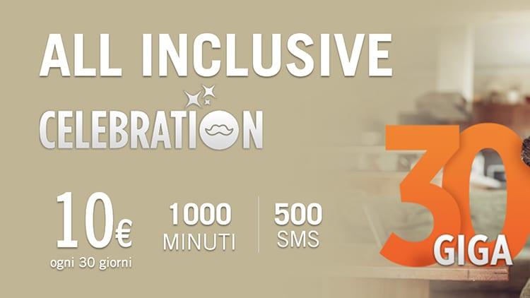 Wind All Inclusive Celebration: solo per oggi minuti, SMS e 30 GB a 10€!