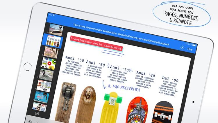 Apple annuncia tante novità per la suite di app iWork, come il supporto ad Apple Pencil