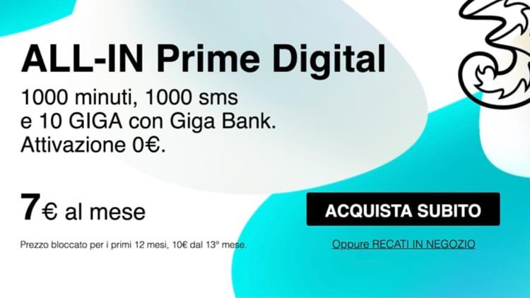 3 Italia presenta 5 nuove offerte davvero molto allettanti. Si parte da 7€ al mese per 1000 minuti/sms e 10GB