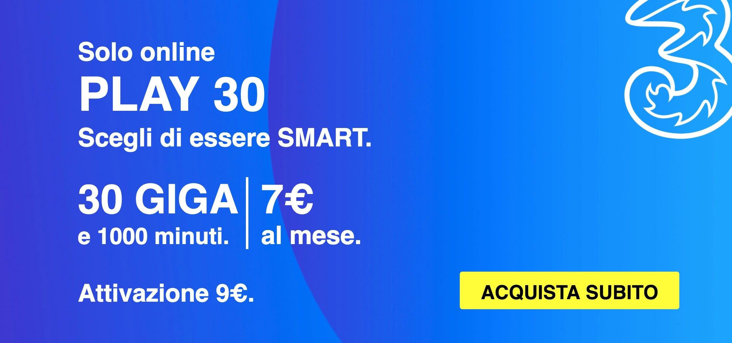 PLAY 30 e PLAY 9 Digital: Le due offerte di Tre Italia che si ...
