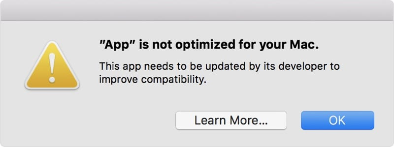 l app non ottimizzata per il tuo mac cos apple