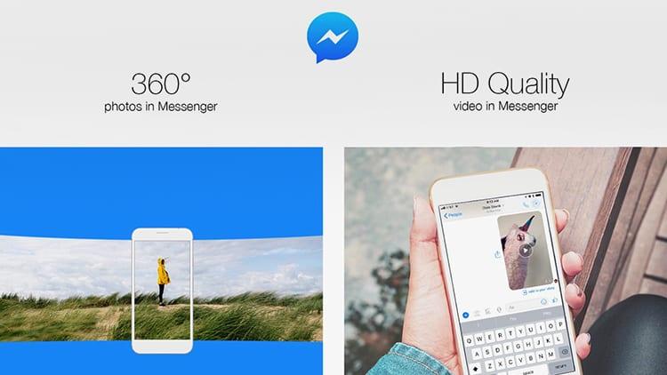 Facebook Messenger adesso permette di inviare foto a 360° e video in HD (720p)