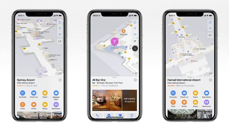 Apple aggiunge le Mappe indoor di un nuovo aeroporto e di centri commerciali