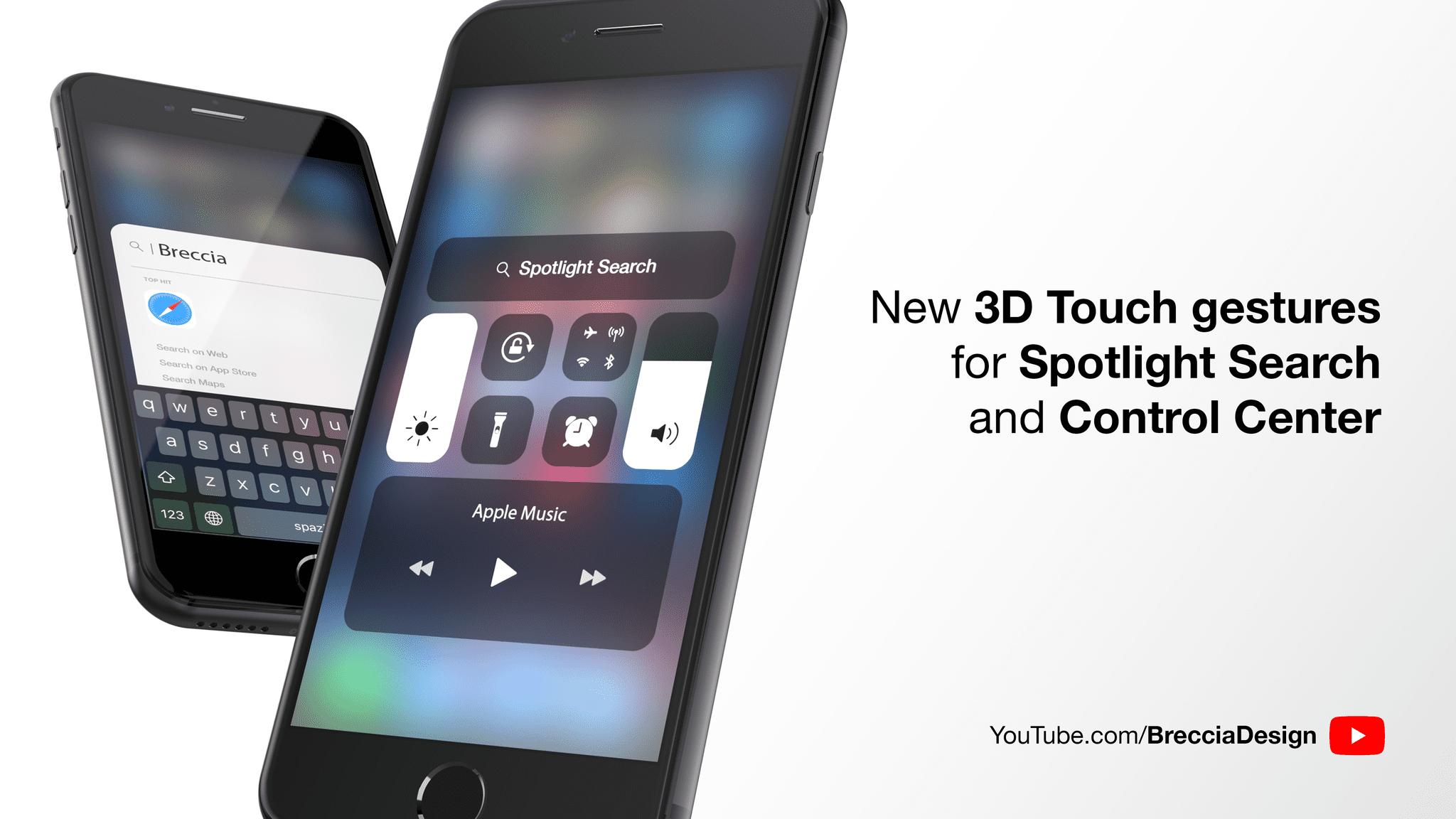 Nuove gesture 3D Touch per il Centro di Controllo e Spotlight: Ecco il concept di Riccardo Cambò [Video]