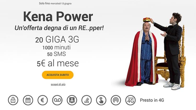 Kena Power: 1000 minuti, 50 SMS e 20GB di internet (presto in 4G) a soli 5€ al mese