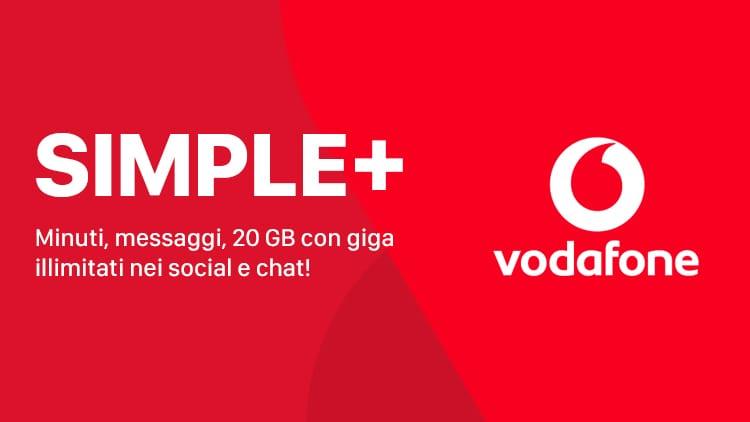 Vodafone Simple+ con minuti, messaggi e 20 GB è disponibile per tutti a 9,99€
