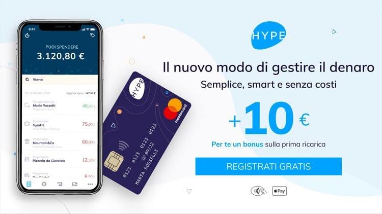 HYPE: scopriamo meglio la carta ricaricabile a zero spese ed Ottieni 10€ in omaggio!