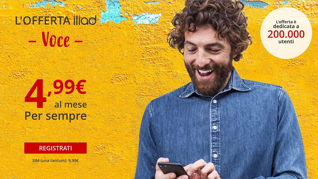 Iliad lancia una nuova offerta: si chiama Iliad Voce ed offre minuti/sms illimitati a 4,99€ al mese