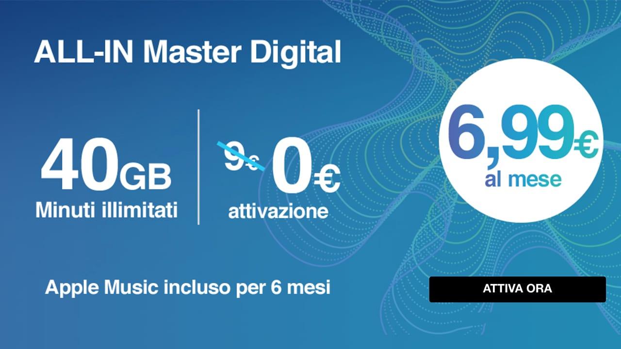 3 lancia la ALL-IN Master Digital: minuti illimitati, 40GB con GigaBank, 6 mesi di Apple Music a 6,99€
