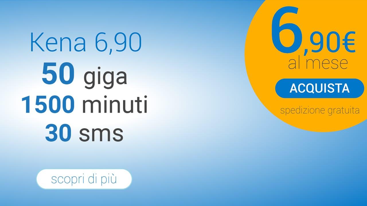 Kena 6,90: la nuova offerta con 50GB, 1500 minuti e 30SMS a 6,90€ al mese per sempre