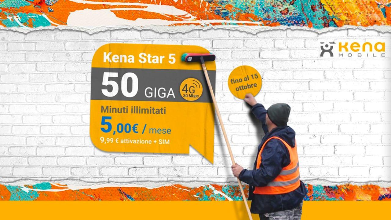 Kena 5 Star: minuti illimitati, 50GB in 4G a soli 5€ al mese per sempre per chi passa da Iliad