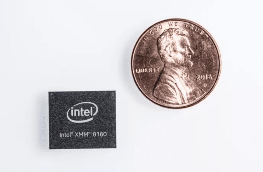 Le contenute dimensioni del modem Intel XMM 8160 5G