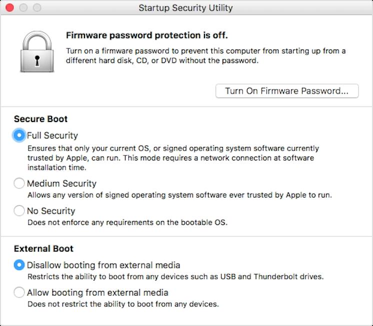 Le impostazioni di macOS per disabilitare Secure Boot