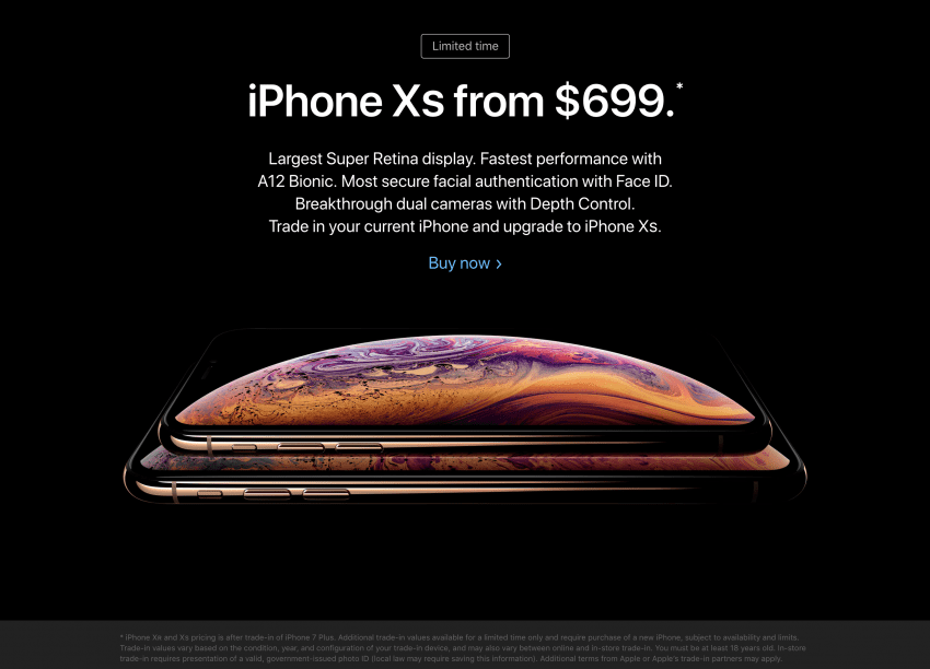 home page apple iphone xs