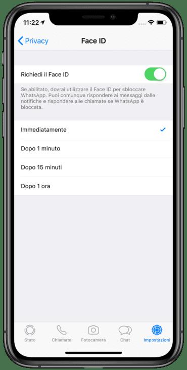 Come abilitare FaceID su Whatsapp