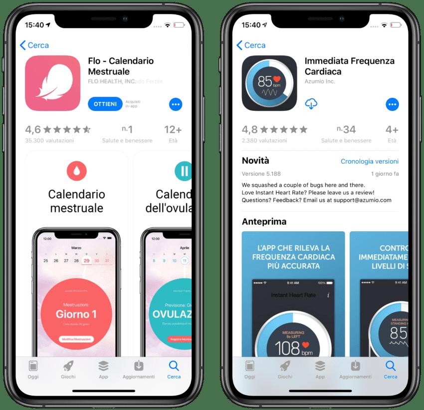 app che forniscono a Facebook dati sulla salute