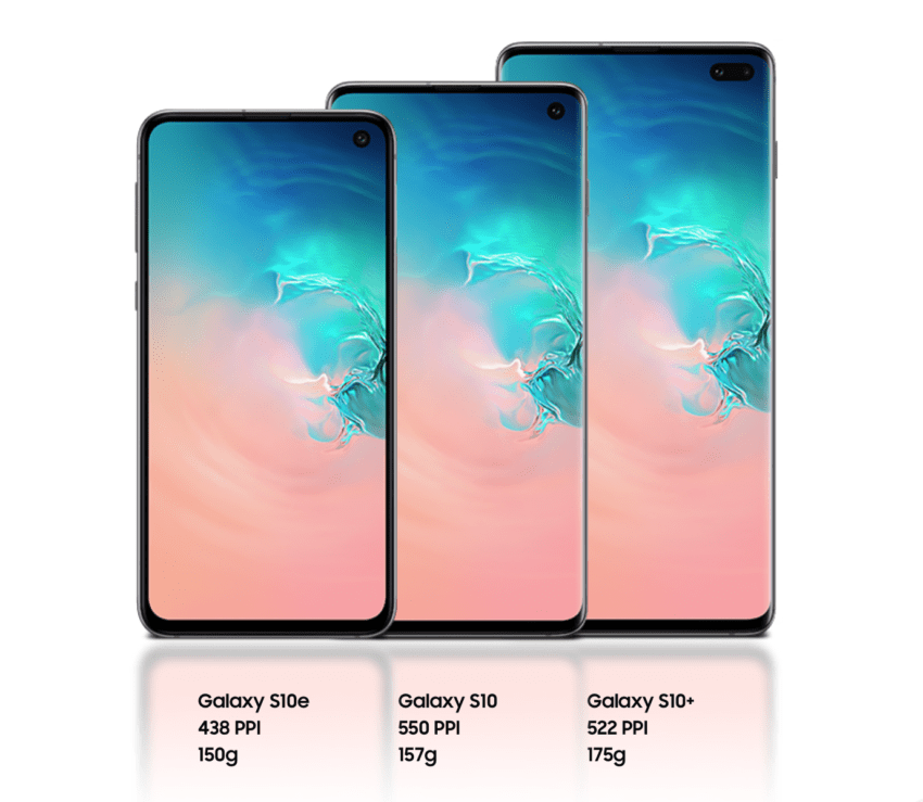 Galaxy S10e S10 S10+ dimensioni display